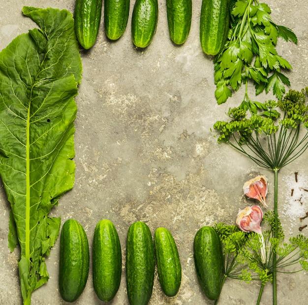 Verse organische komkommers verschillende kruiden voor de bereiding van conservering zijn omlijst.