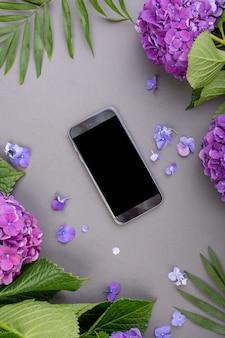 Verse paarse hortensia's met groene bladeren met slimme telefoon op grijze achtergrond. vrije ruimte voor tekst. bovenaanzicht. kopieer ruimte