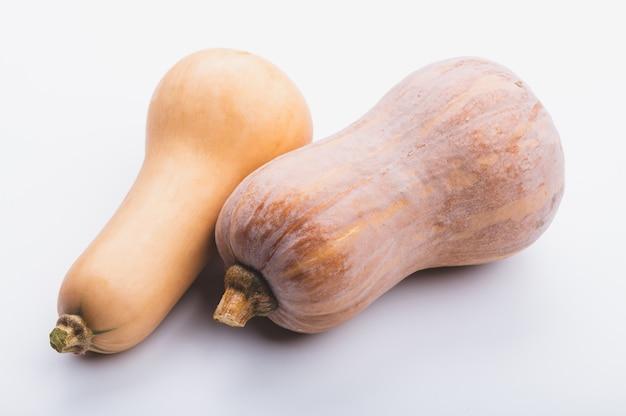Verse pompoen butternut squash op witte achtergrond, biologisch rauw voedsel voor een goede gezondheidszorg, plantaardig ingrediënt