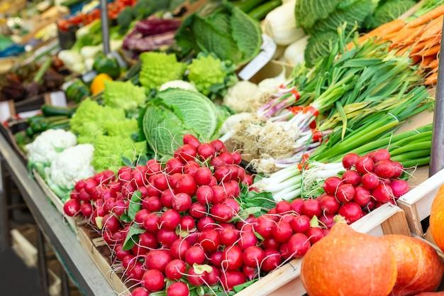 Verse rauwe biologische bio ongekookte groenten te koop bij boerenmarkt. radijs, bieslook, kool op markt, voorraadfoto. veganistisch eten en gezonde voeding concept.