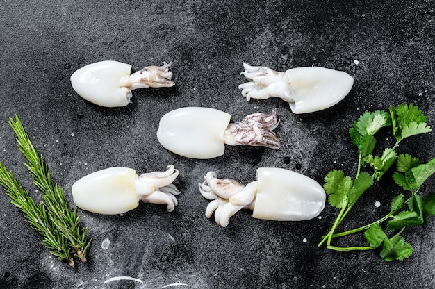 Verse rauwe inktvis met rozemarijn en peterselie