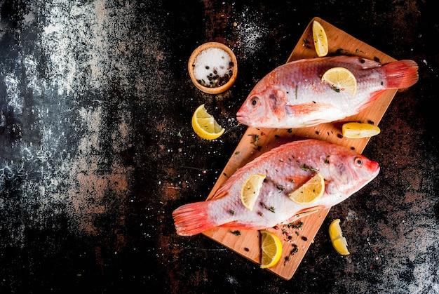 Verse rauwe tilapia vis met kruiden voor het koken