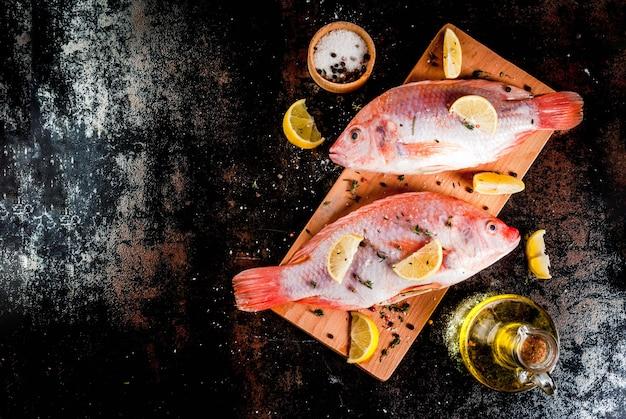 Verse rauwe vis roze tilapia met kruiden voor het koken van citroen, zout, peper, kruiden, op zwarte roestige metalen tafel, copyspace bovenaanzicht