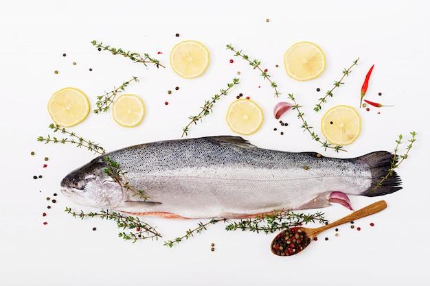 Verse rauwe zalm rode vis geïsoleerd op een witte tafel. plat leggen. bovenaanzicht
