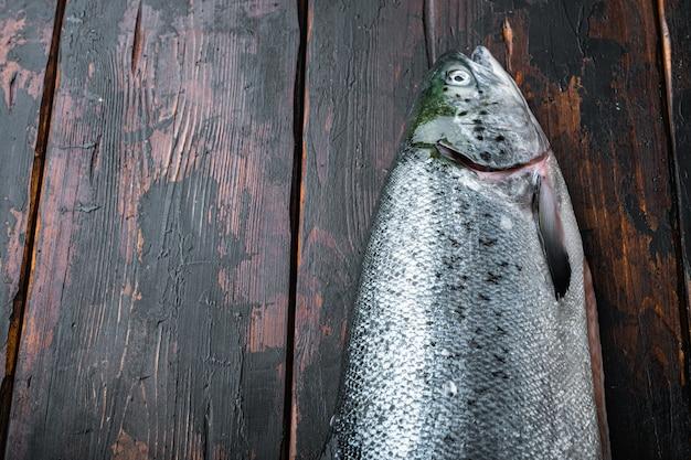 Verse rauwe zalm rode visfilet met ingrediënten