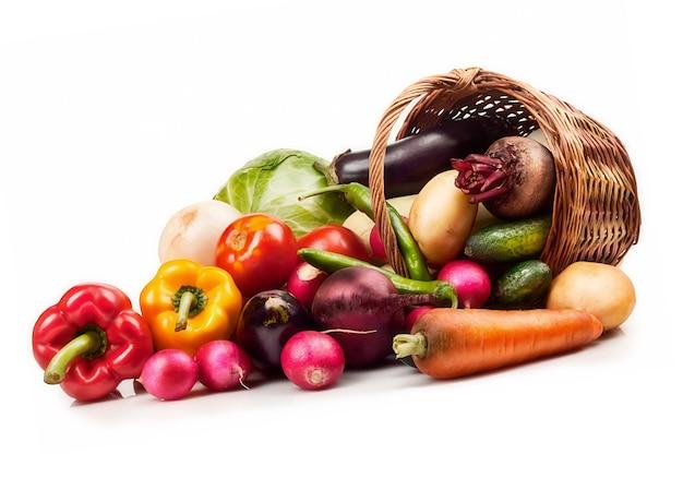 Verse rijpe groenten op wit