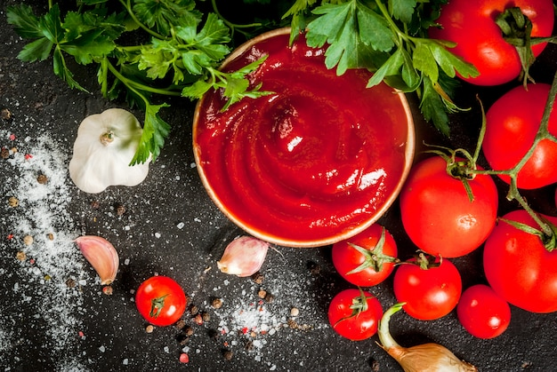 Verse zelfgemaakte biologische tomatensaus of ketchup in een kleine kom met de ingrediënten - peterselie uien knoflook tomaten zout peper op een zwarte stenen betonnen tafel horizontaal met