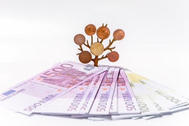 Verspreide eurobiljetten op een witte achtergrond en een groeiende boom met munten op zijn takken. investeringsconcept geldgroei.