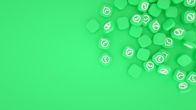 Verspreide whatsapp-logo's 3d-achtergrond