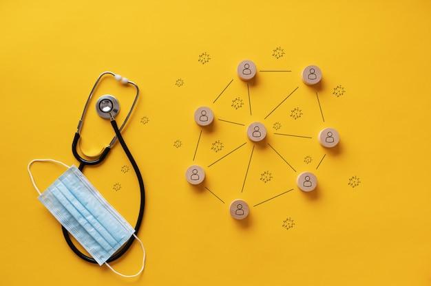 Verspreiding van covid19 conceptueel beeld - medische stethoscoop en beschermend masker naast een diagram van coronavirus verspreid over gele achtergrond.