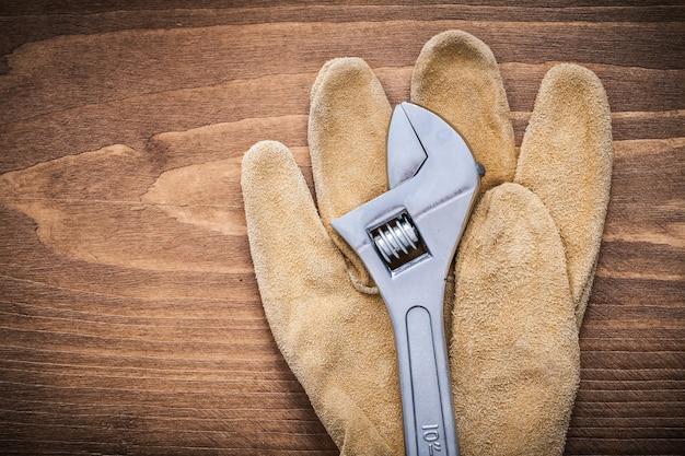 Verstelbare moersleutel lederen beschermende handschoenen