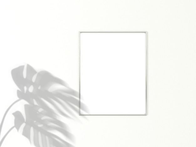 Verticaal chrome frame voor foto of afbeelding. 3d-weergave.