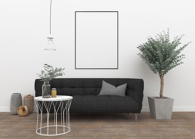 Verticaal frame in het scandinavische interieur