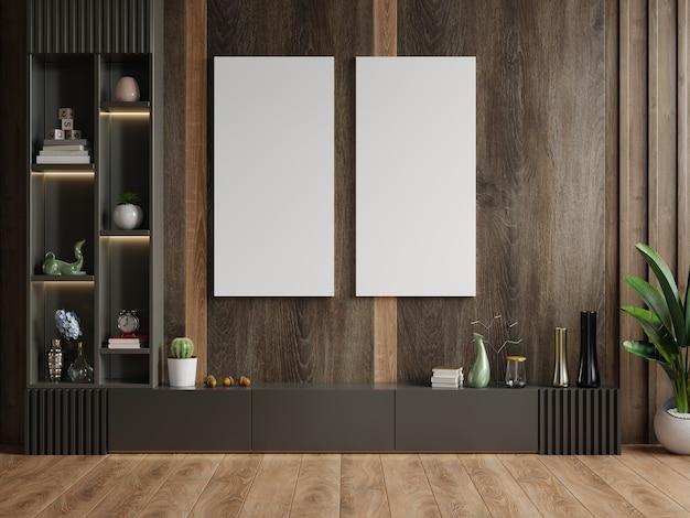 Verticaal frame op lege donkere houten muur in woonkamer interieur met kast. 3d-weergave