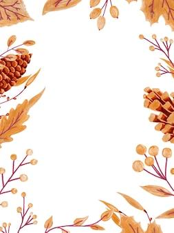 Verticaal frame van kleurrijke herfstbladeren en bessen