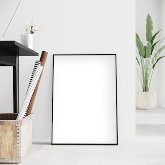 Verticaal frame voor de witte muur met decors