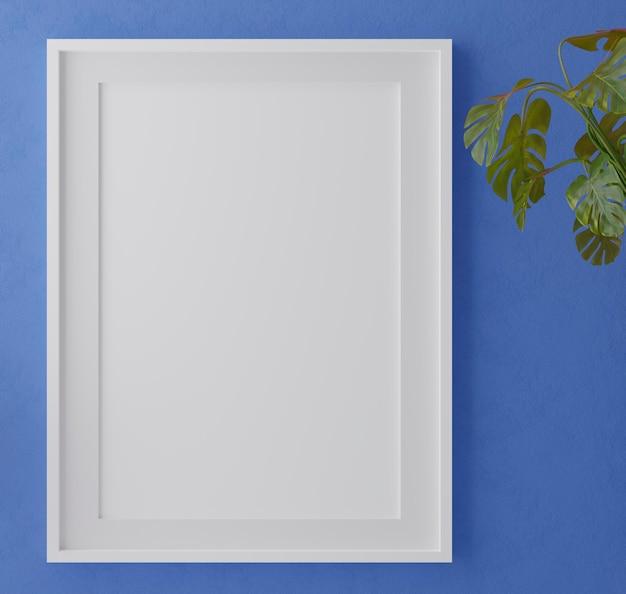 Verticaal houten frame op blauwe muur met bladeren