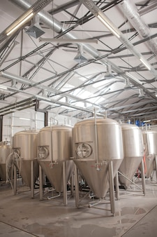 Verticaal schot van biertanks bij microbrouwerijproductie-installatie