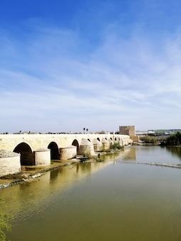 Verticaal schot van de beroemde historische brug in cordoba