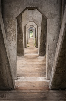 Verticaal schot van de bogen van de cementbrug in washington