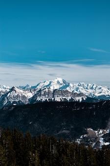 Verticaal schot van een besneeuwde berg overdag