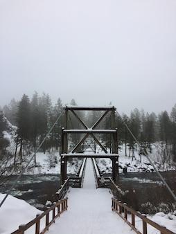 Verticaal schot van een besneeuwde hangbrug met een mistig bos in de verte
