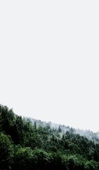 Verticaal schot van een rookwolk die uit een groen landschap komt dat de hemel raakt