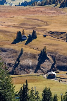 Verticaal schot van gebouwen op een met gras begroeide heuvel in dolomiet italië