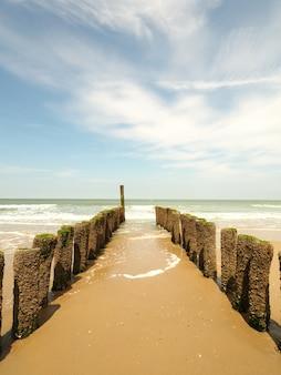 Verticaal schot van houten golfbrekers op het gouden zandstrand met een duidelijke zonnige hemel