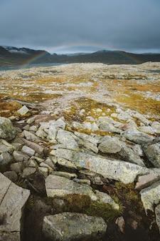 Verticaal schot van land met veel rotsformaties en de regenboog op de achtergrond in finse, noorwegen