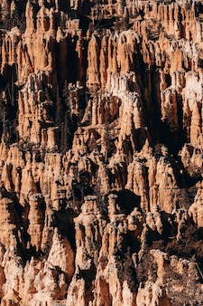 Verticaal schot van rotsen in een canion onder het zonlicht