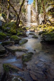 Verticaal schot van stenen bedekt met mos in een meer onder de waterval butori in istrië, kroatië