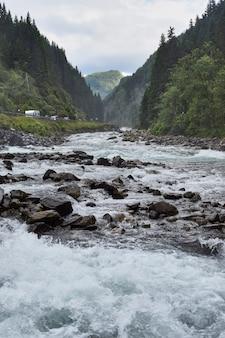 Verticaal schot van water dat tussen de rotsen in het midden van bomen onder een bewolkte hemel stroomt