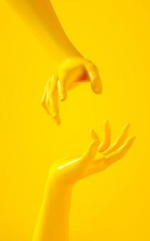 Verticale 3d-weergave van twee gele handen op gele achtergrond