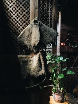 Verticale afbeelding van een kamerplant op tafel bij een oude houten deur onder de lichten