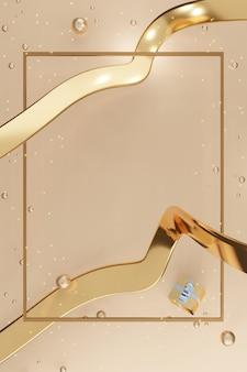 Verticale frame nieuwjaar en kerst achtergrond geschenkdoos ballonnen en lint 3d illustratie