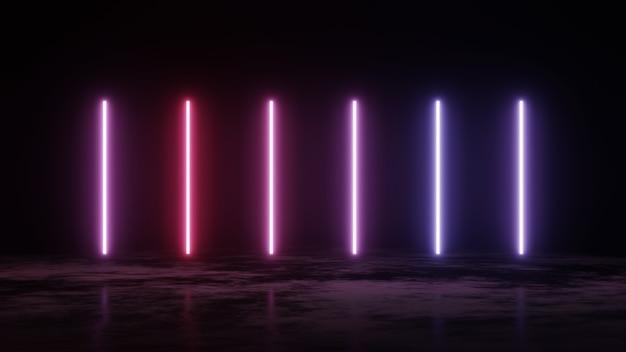 Verticale gloeiende lijnen, ultraviolet spectrum, blauw violet neonlichten, lasershow, nachtclub, equalizer, abstracte fluorescerende achtergrond, optische illusie, 3d render.