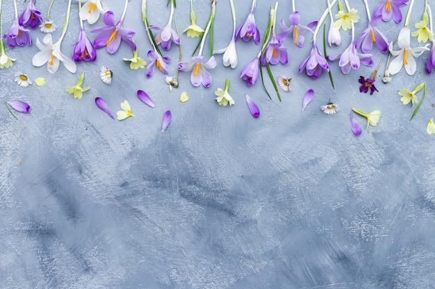 Verticale grijze en witte achtergrond met paarse en witte lentebloemen grens en ruimte voor tekst