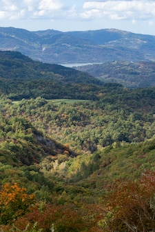 Verticale hoge hoek shot van een prachtig landschap in istrië, kroatië