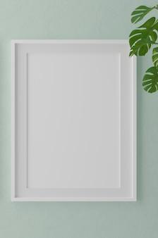 Verticale houten frame mock-up op groene muur met planten