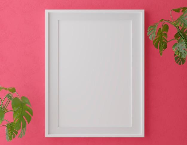 Verticale houten frame mock-up op rode muur met planten