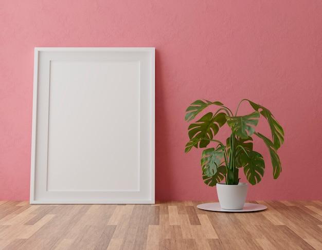 Verticale houten frame op rode muur achtergrond met plant