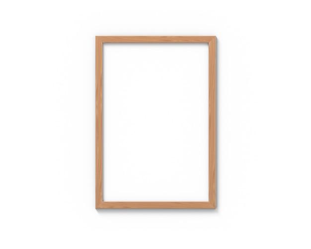 Verticale houten kozijnen met een rand die aan de muur hangt. 3d-weergave.