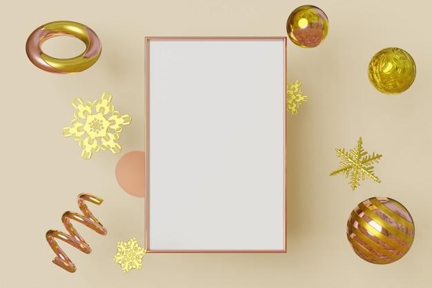 Verticale mockup fotolijst gouden kleur vliegt op crème achtergrond met metalen sneeuwvlok in geometrische vorm. abstracte veelkleurige beweging concept. 3d-weergave