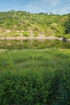 Verticale mooi shot van een groen veld en een meer met een heuvel