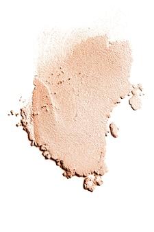 Verticale opname van cosmetische foundation uitstrijkje