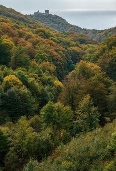 Verticale opname van de herfst in de berg medvednica met het kasteel medvedgrad