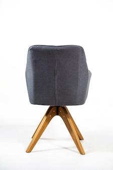 Verticale opname van de rugleuning van een grijze stoel