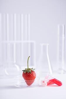 Verticale opname van een aardbei in een glazen schaal en twee plastic flesjes met rode vloeistof in een lab