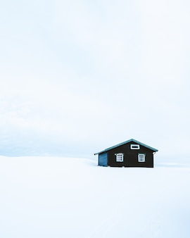 Verticale opname van een houten hut in een besneeuwd gebied in noorwegen